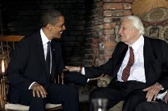 President Obama meets with Billy Graham, 91, at the ailing evangelist's mountainside home in Montreat, N.C., April 25.