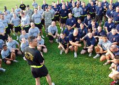 In this May 27, 2009 file photo, Brig. Gen. Stephen Townsend, front, speaks to soldiers at Fort Campbell, Ky., about suicide prevention.