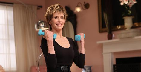 "Jane Fonda was known for ""feeling the burn"" in her 1980s and '90s workout videos. At 72, and with a new hip and knee, she advocates a gentler approach but promotes fitness for all."