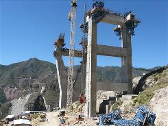 The world's second-highest bridge being built at the Baluarte Gorge.