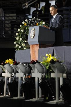 President Obama speaks during a memorial service for the miners killed in the Upper Big Branch Mine, in Beckley, W.Va., Sunday.