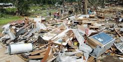 Homes were reduced to rubble when a tornado ripped through Eagle Lake.