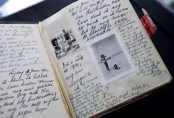A facsimile of Anne Frank's diary displayed during a news conference at Anne Frank House in Amsterdam on June 11, 2009.