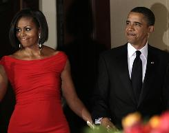 President Obama and first lady Michelle Obama arrive tonight at the White House Correspondents' Association Dinner in Washington.