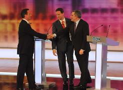 Conservative Party leader David Cameron, left, Liberal Democrat leader Nick Clegg, center, and Prime Minister Gordon Brown shake hands after a debate at the University of Birmingham on April 29.