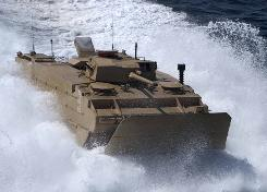An Expeditionary Fighting Vehicle executes testing maneuvers off the coast of Marine Corps Base Camp Pendleton, California in October 2008.