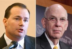 Mike Lee, left, is one of several challengers in Utah for the seat held by Sen. Robert Bennett, right, a Republican.