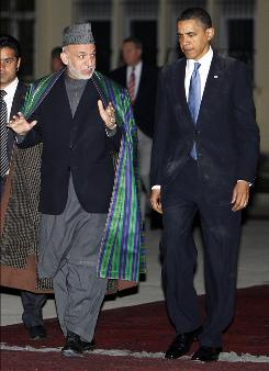 President Obama, right, met with Afghan President Hamid Karzai in March at the presidential palace in Kabul, Afghanistan.