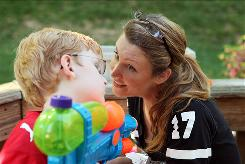 Christine Eads with her son, Aidan, 8, whom she conceived while wearing an estrogen patch in a clinical trial. A National Institutes of Health study finds that some women with primary ovarian insufficiency have immature eggs in their ovaries.