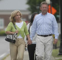 Tonya Craft leaves the courthouse with her husband David Craft on April 23. She was acquitted on molestation charges.