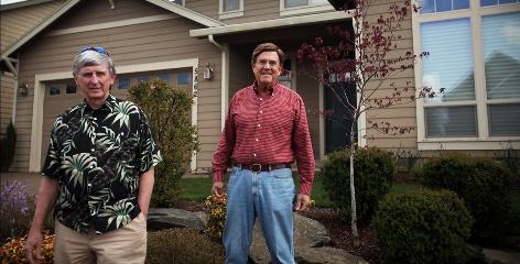Larry Lohrman, left, and Burt Bogart sat on a committee to develop guidelines for any solar panels going up in Creekside Estates in Salem, Ore.
