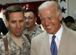 Vice President Biden, right, is seen with his son, U.S. Army Capt. Beau Biden, now Delaware's attorney general, at Camp Victory on the outskirts of Baghdad in 2009.