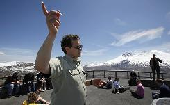 Monument scientist Peter Frenzen speaks with students at the Johnston Ridge Observatory at Mount St. Helens National Volcanic Monument last week near Toutle, Wash.