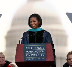 First Lady Michelle Obama speaks during George Washington University's commencement ceremony in Washington, D.C.