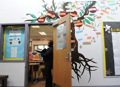 A D.C. Department of Youth Rehabilitation Services representative monitors students at the Maya Angelou Academy at New Beginnings Youth Development Center in Laurel, Md.