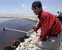 """""""The oil is here. The oil is no longer just a projection or miles from our shore,"""" Louisiana Gov. Bobby Jindal says."""