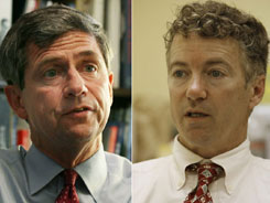 Rep. Joe Sestak (D-Pa.); Right: Rand Paul running in Kentucky