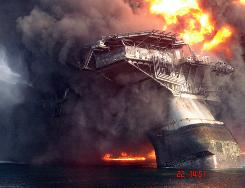 The listing Deepwater Horizon oil rig on April 21 shortly before it sank into the Gulf.