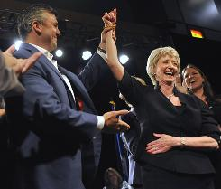 In Connecticut, former World Wrestling Entertainment CEO Linda McMahon emerged as the top Republican for U.S. Senate at a state convention Friday.