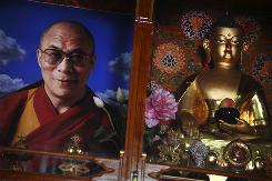 A photo of the Dalai Lama sits next to a statue of Buddha at the Nechung Dorje Drayangling Monastery in Dharamsala, Himachal Pradesh, India.