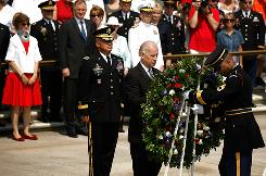 Vice President Biden places a wreath at the Tomb of the Unknowns during Memorial Day ceremonies Monday at Arlington National Cemetery in Virginia.