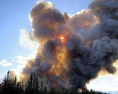 A fire burns near Tanacross, Alaska, on May 26. Statewide, 260,000 acres have burned, and forecasters expect that to rise to 900,000 acres by July.