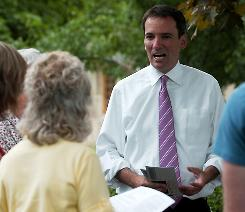Andrew Romanoff, a Democratic Senate hopeful in Colorado, talks with volunteers in Fort Collins, Colo., this week.