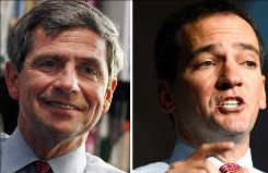 Pennsylvania Rep. Joe Sestak, left, and former Colorado state legislator Andrew Romanoff continued with their primary campaigns, despite pressure from the White House.