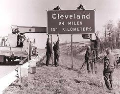 Signs along I-71 in Ohio were installed in 1973, when the nation flirted with the metric system.