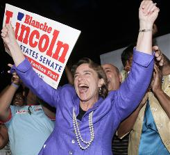 Sen. Blanche Lincoln, D-Ark., greets supporters as she claimed victory in the Democratic primary runoff election in Little Rock, on Tuesday.
