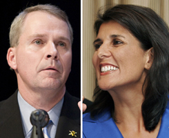 South Carolina gubernatorial candidates Nikki Haley and Gresham Barrett were forced into a run-off after the GOP primary.