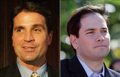 Brad Ellsworth, left, and Marco Rubio have spent years working in the public sector.