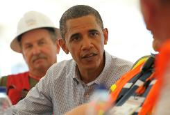 President Obama chats with workers attending a training class for oil cleanup personnel during a tour at the Theodore Staging Facility on Monday in Theodore, Ala.