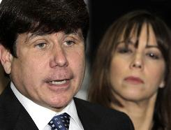 Former Illinois governor Rod Blagojevich arrives at the Federal Court building with his wife, Patti, for his federal corruption trial in Chicago on June 8.