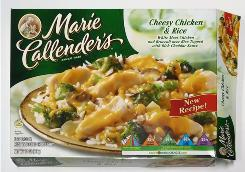 Marie Callender's Cheesy Chicken & Rice frozen dinner. ConAgra issued a recall of the product because it may be linked to an outbreak of salmonella Chester that has sickened 29 people in 14 states since April.