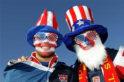 USA fans attend the 2010 FIFA World Cup South Africa Group C match between Slovenia and USA at Ellis Park Stadium in Johannesburg, South Africa, June 18.
