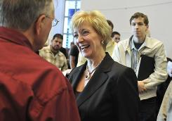 Linda McMahon speaks to attendees after a candidate's forum at Eastern Connecticut State University in Willimantic, Conn. 