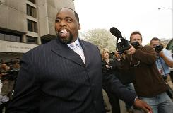 Former mayor of Detroit Kwame Kilpatrick exits Frank Murphy Hall of Justice in Detroit on April 20. Kilpatrick was indicted Wedensday on federal fraud and tax charges.
