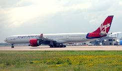Virgin Atlantic jet sits on the tarmac Wednesday at Bradley International Airport in Windsor Locks, Conn.