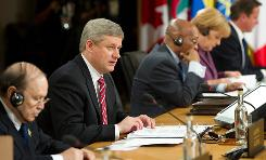 Canadian Prime Minister Stephen Harper speaks Friday during the G-8 session with African Outreach Leaders during the 2010 G-8 Summit at the Deerhurst Resort in Huntsville, Ontario.
