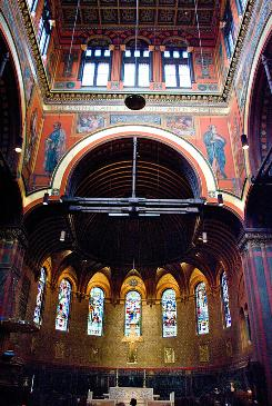 Trinity Episcopal Church in Copley Square in Boston's Back Bay is one of the many restoration projects of John Canning Studios & Co., Ltd.Canning says he finds reverence in restoration.