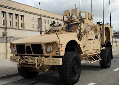 The Pentagon displays a Mine Resistant Ambush Protected vehicle aimed at providing troops with safer, more maneuverable transportation.