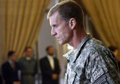Gen. Stanley McChrystal arrives to attend a meeting in Kabul on Jan. 20. McChrystal will retire from the service.