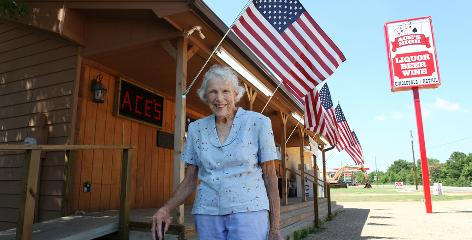 Marian Steich, 84, of Winona, Texas, is a teetotaler and church member born in the Prohibition Era and remembers bootleggers even after WWII. She voted for her town to be wet in a referendum last November because she wants to see the town come back to life commercially.