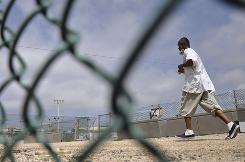 A Guantanamo detainee seen in an April photo reviewed by a U.S. Department of Defense official.