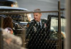 "Stanley McChrystal arrives at the White House June 23 for his meeting with President Obama in the wake of critical barbs published in ""Rolling Stone."""