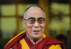 Exiled Tibetan spiritual leader the Dalai Lama smiles as he celebrates his 75th birthday at Tsugla Khang Temple in Mcleod Ganj, Dharamshala, on July 6, 2010. In a speech delivered in his native language, he regretted that Tibetans in Tibet would not be allowed to mark his birthday due to oppression from the Chinese authorities, which vilify him as a separatist.