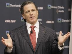 Cleveland Cavaliers owner Dan Gilbert talks with the media at a press availability at the Cleveland Clinic Courts in Independence, Ohio.