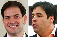 Marcio Rubio,left, and Raul Labrador are both running in political races this year as Republicans. Twenty four out of the 28 Hispanic or Latino members of Congress are Democrats.