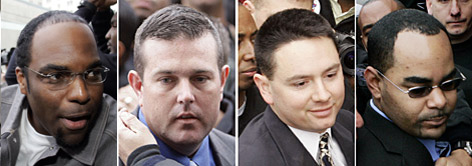 Officer Robert Faulcon, left, Sgt. Robert Gisevius, Sgt. Kenneth Bowen, and Officer Anthony Villavaso could face the dealth penalty if convicted for charges related to shootings on a bridge after Hurricane Katrina.